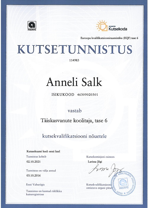 Kutsetunnistus Anneli Salk