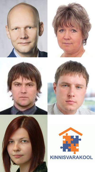 Kinnisvarakooli lektorid: Tõnu Toompark, Evi Hindpere, Marko Sula, Igor Fedotov, Eva Vaagert